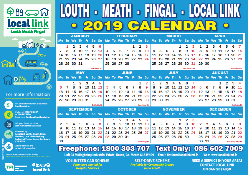 2019 Calendar Available